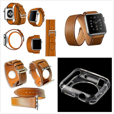 42mm For Apple Brown 4 in 1 Leather Cuff Bracelet Long Watch Band Clear Case