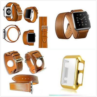 42mm For Apple Brown 4 in 1 Leather Cuff Bracelet Long Watch Band Protect Gold