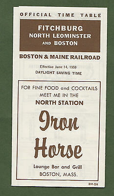 1959 Official Time Table Fitchburg North Leominster Boston Iron Horse Bar Grill