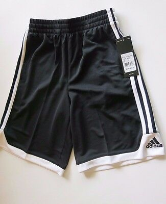 NWT Adidas Big Boys S Black White 3 Stripe Shorts Short Pants Soccer Unisex YS