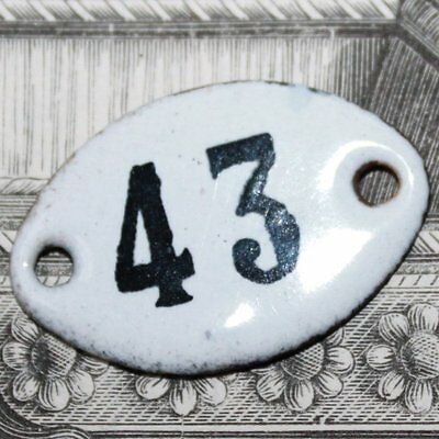 Old French Apothecary Porcelain Enamel Number Sign 43