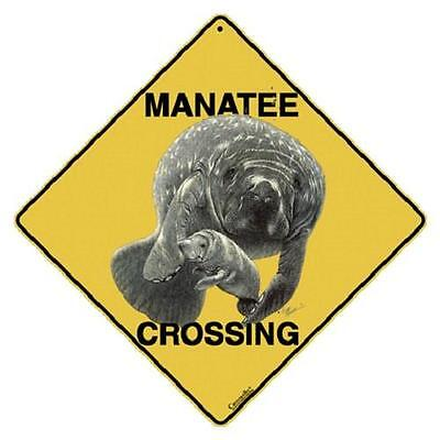 "Manatee Metal Crossing Sign 16 1/2"" x 16 1/2"" Diamond shape  USA #10"