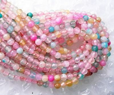 Clearance-red blue pink dragonvein agate round faceted 4mm Gemstone bead (pits)