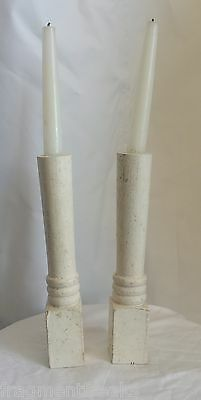 Two(2) RECLAIMED Wood Victorian SHABBY Candle Holders Cream Vintage