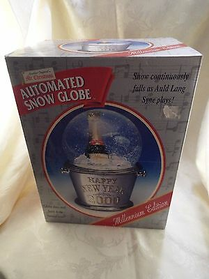 LARGE Mr. Christmas 2000 Millenium Musical Happy New Year Snow Globe