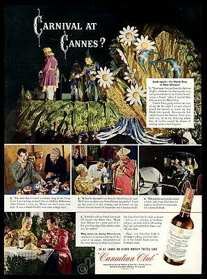 1942 New Orleans Mardi Gras parade float photo Canadian Club whisky print ad