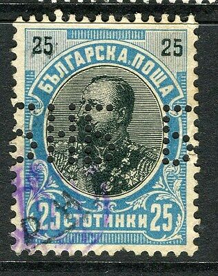 BULGARIA;  1901 early Ferdinand issue fine used 25s. value + PERFIN
