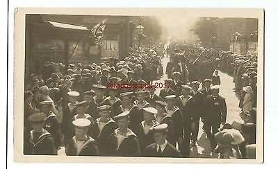 Unknown Location Military Street Procession Real Photo Vintage Postcard 2.2