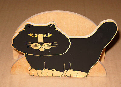1970s Kitsch Retro Novelty Wooden Black Cat Letter Rack - Superb!