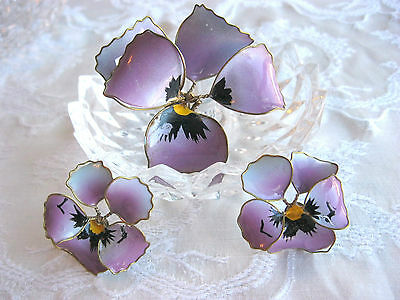 Antique Painted Wire Wrapped Plastic Petal Pansy Pin Brooch Earring Set Repair