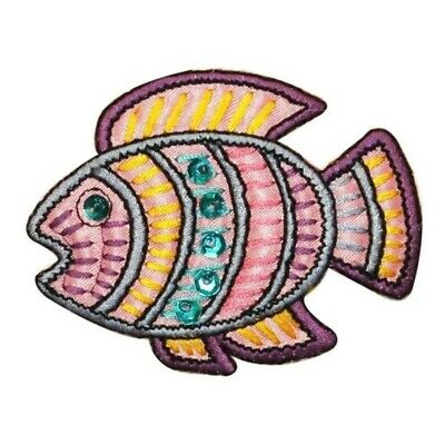 ID 0208A Tropical Ancient Fish Patch Shiny Sequins Embroidered Iron On Applique