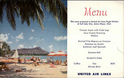 United Air Lines Menu - Waikiki Beach Hawaii HI - Postcard