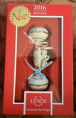 Lenox Collectible 2016 Rattle Baby's 1st Christmas Porcelain Ornament FIRST NEW