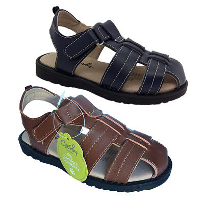 Boys Shoes Grosby Jack Leather Upper Sandals Size 4-12 New Hook and Loop