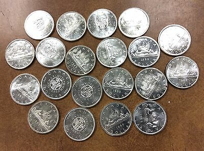 {BJSTAMPS} 1960-66 CANADIAN DOLLARS AU ROLL Of 20 Coins -  80% SILVER Canada