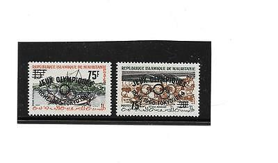 AFRICA (MAURITANIA)-Olympics surcharge on 2 stamps- Listed but unpriced in Scott