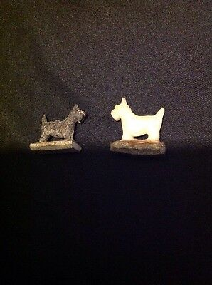 1930s HOTSY & TOTSY 2 Pc Dog Magnetic Set Black & White Scottish Terriers Scotty