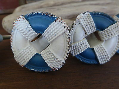 Metal LIFE PRESERVER Knob - Blue & White Nautical Boat Knobs Drawer Beach Pulls