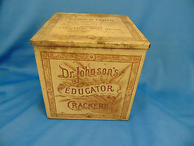 "Antique Tin Dr. Johnson's Educator Crackers Palatable and Healthful 6"" x 6"""