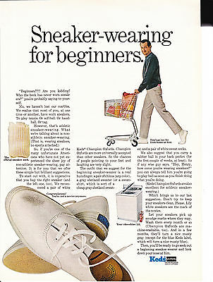 Original Print Ad-1967 Sneaker Wearing For Beginners-KEDS Man With Shopping Cart