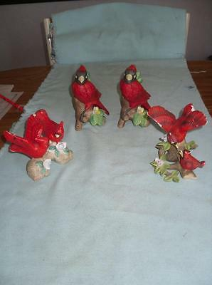 4 Vintage Red Bird Cardinal Figurines 3 Different Styles Taiwan & China Flaws