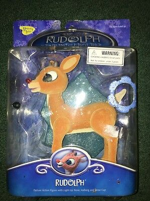 Rudolph The Red Nosed Reindeer Deluxe Action Figure Light Up Nose NIB 2002