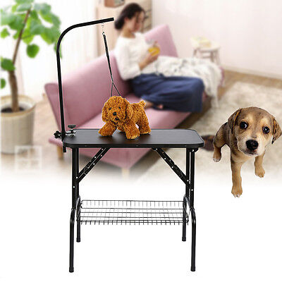 Cats Dogs Grooming Table Folding Pet Beauty Desk Stainless Arm Anti-Slip Top