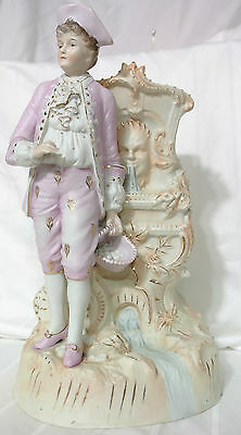 Antique Hand Painted Porcelain 19 Century German French MAN FOUNTAIN bisque nr