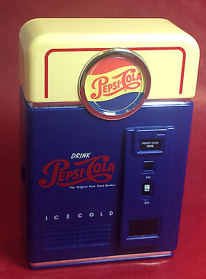 Pepsi-Cola RADIO AM/FM battery operated AA soda pop vending machine WORKS!