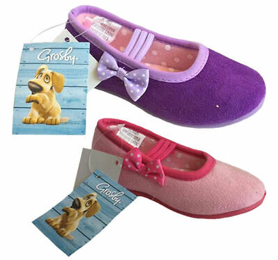 Girls Slippers Grosby Nikki Pink or Purple Ballet Style Slipper with Bow 4-12