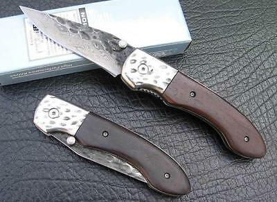 Handmade Damascus Custom Forged Steel Pocket Folding Knife B24