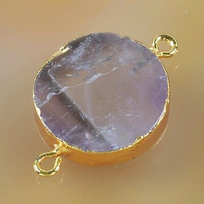 Round Natural Amethyst Connector Gold Plated B031633