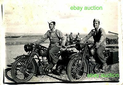 Bulgarian Soldiers with NSU MOTORCYCLE,Original Military Photo 1943,WWII