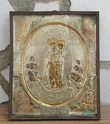 Antique Russian Empire Era Orthodox Lithography With Foil Cover Icon Relic