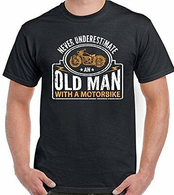 Never Underestimate An Old Man With A Motorbike - Mens Funny Biker T-Shirt