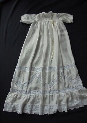 Vintage Lemon Silk Christening Gown - Deep Lilly Pattern Lace- 1920 / 30's