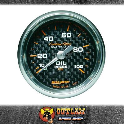 "Autometer Gauge Carbon Fibre 2"" Oil Pressure 0-100 Psi Mechanical - Au4721"