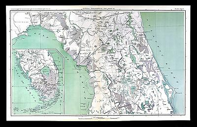 Civil War Map - Florida - Miama Gulf of Mexico St. Augustine Everglades FL Keys