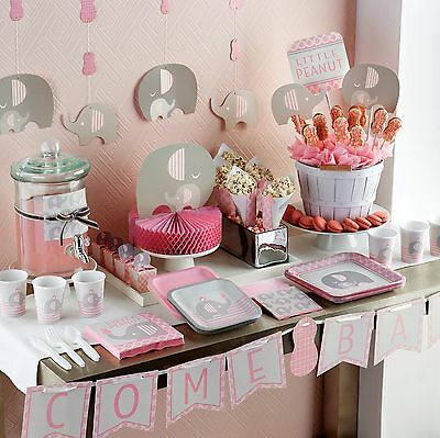 Little Peanut New GIRL BABY SHOWER Party Range (Tableware & Decoration) Elephant