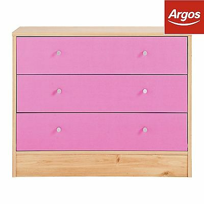 New Malibu 3 Drawer Wide Chest - Pink on Pine -From the Argos Shop on ebay