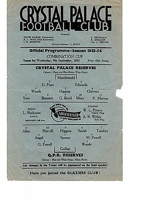 Crystal Palace v Queens Park Rangers QPR Reserves Programme 9.9.1953 Co Cup