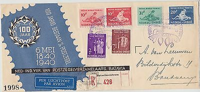 1) NETHERLANDS INDIES 1940 SET 100 YEARS STAMPS on REGISTERED COVER - SEE CANCEL