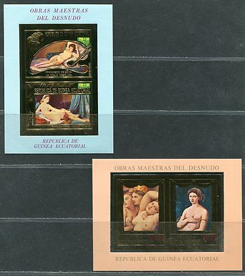 Guinea Equatorial 1975 - Art, Nude paints set of 8 imperf blocks MNH OG gold