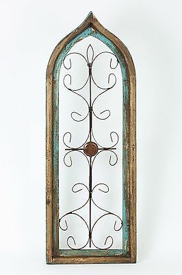 Large Gothic Architectural Wall Garden Window-Wood & Iron-12x37-Turquoise