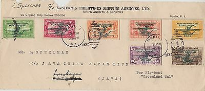 10) PHILIPPINE ISLANDS 1932 - VON GRONAU STAMPS on FRONT OF COVER to JAVA