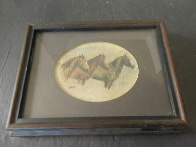 Hand Painted Framed Horse Picture 6 X 8 Signed Zela     ID:15652