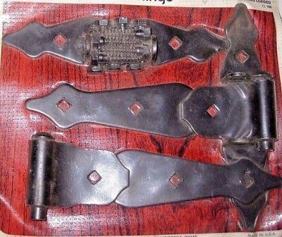 Vintage Pair (2) Steel Heavy-Duty Ornamental Door Gate T-Hinges Made in USA