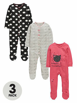 Ladybird Baby Girls Pack Of Three Sleepsuits in Multi Size 18-24 Months
