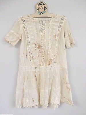 "Antique Dress Childs Fancy White  WhiteWork Peg Hanger Embroidered 28"" Chest"