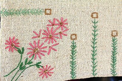 Antique Table Cover Crib Arts & Crafts Hand Embroidered  Raw Linen Cotton 56x42